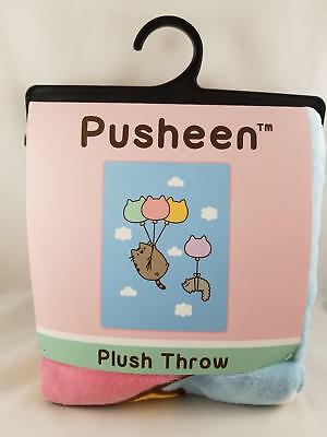 """New Facebook Cat Pusheen And Stormy Balloons In Sky Plush Throw Blanket 48""""X60"""""""