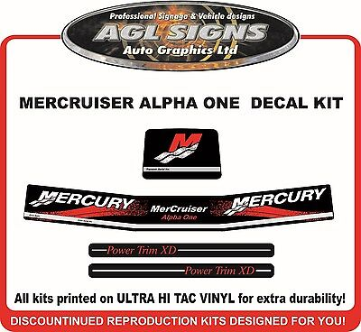Mercury Mercruiser Alpha one  New Gen Outdrive 4 Piece  Reproduction Decal Kit