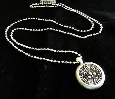 Vtg Long Silver 925 Coated Necklace Etched Antique Israel Jewish Roman Coin  .