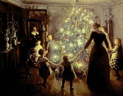 Family around  tree Silent Christmas Night by Viggo Johanson