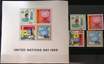 GHANA 1969 355-58 Block 34 344-347a UN Day UNO United Nations HQ Architecture **