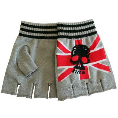 Union Jack Skull Knitted Fingerless Gloves Gothic Punk Rock Hand Warmers
