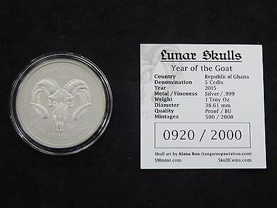 2015 Year of the Goat Lunar Skull Coin 1oz Silver Uncirculated Ghana Limited