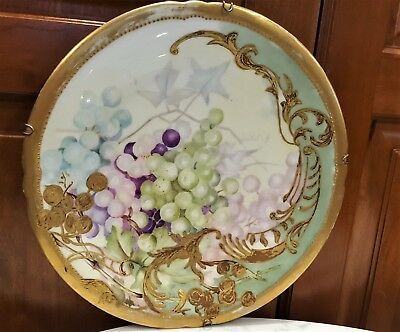 """Beautiful 11"""" Hand Painted 1898 Purple Green Grapes Thick Ornate Gold JB France"""
