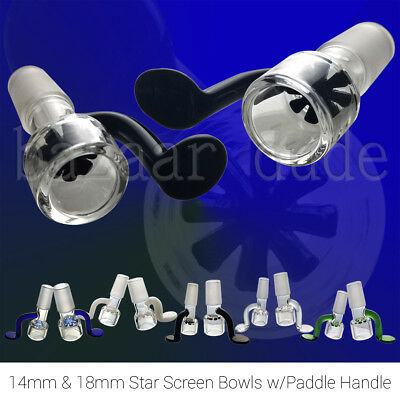 Glass Slide Bowl | 14mm & 18mm | Star Shape Screen | Flat Paddle Handle