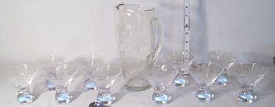 ELEGANT ETCHED FLOWERS GLASS 10 PIECE MATCHED COCKTAIL SERVICE SET 1950s