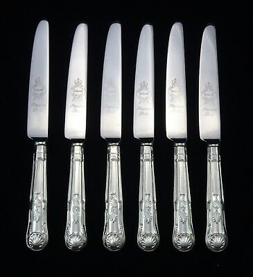 "6 Heavy Vintage Dinner Knives 9.5"" Sheffield Plated Kings Pattern Cutlery A1"