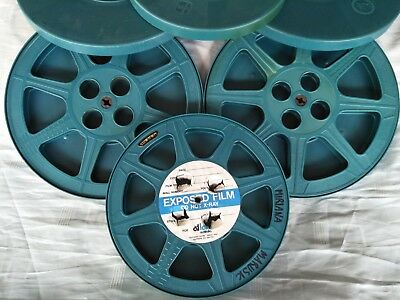 3 x Vintage 16mm Movie Projector Reels & Cans 2 x 1200' & 1 x 800' Tuscan