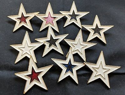Lot of 10 Vintage Hand Painted Large Star Pins