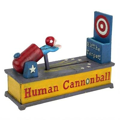 Human Cannonball Die Cast Iron Mechanical Coin Bank Antique Replica