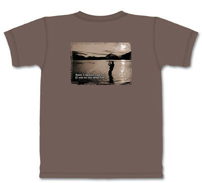 Mountain Life Fishing Funny Sorry I Missed Your Call Grey Cotton T-Shirt M-L