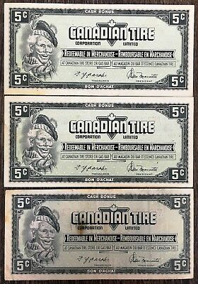 Lot of 3x 1974 Canadian Tire 5 Cents Notes - CTC-S4-B1-AM
