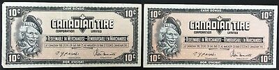 Lot of 2x 1974 Canadian Tire 10 Cents Notes - CTC-S4-C1-CM