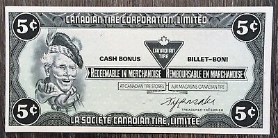 CTC-S6-B 1985 Vintage Canadian Tire 5 Cent UNC Note - Free Combined S/H