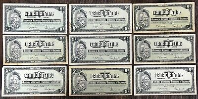 Lot of 9x 1974 Canadian Tire 5 Cents Notes - CTC-S4-B-TN