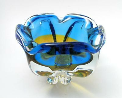 Vintage Italian Murano Yellow & Blue Art Glass Bowl Mid Century Eames Era