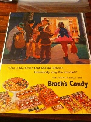Vintage 1959 Brach's Candy Children Trick Or Treating Halloween Print Art ad