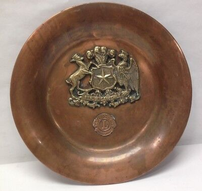 "Vintage 12-3/4"" Copper Platter Plate Dish Brass Crest Wall Republica De Chile"