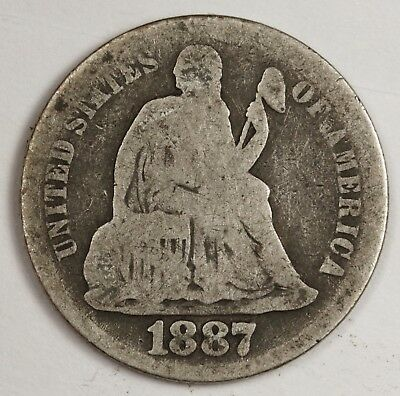 1887-s Liberty Seated Dime.  Circulated.  119503