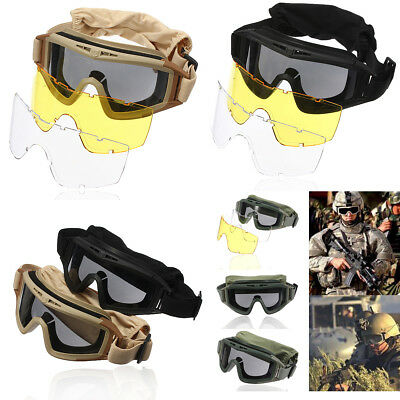 3 Lenses Tactical Airsoft Goggles Eye Mask 100% UV Protection SWAT Protective