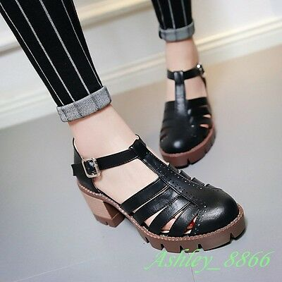 Classic Chunky Heel Hollow Out Buckle Strappy PU Plus SZ10.5 Women Shoes Casual