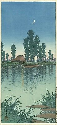 HASUI  JAPANESE Woodblock Print SHIN HANGA - Evening at Itako