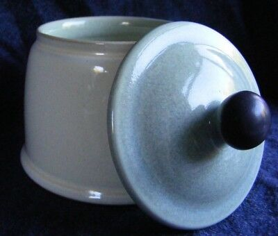 Denby Energy Straight Sided Lidded Sugar Bowl - Celadon Green, Cream & Charcoal