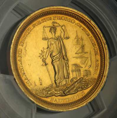 "1853, USA, Baltimore (City). Gold ""Maryland Institute of Art"" Medal. PCGS MS-61!"