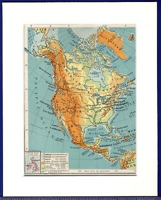 Antique MAP ~ NORTH AMERICA Canada & USA PHYSICAL ~ 1922 MOUNTED Original