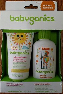 Babyganics Mineral Sunscreen SPF 50 Natural Bug Spray DEET Free 2oz ea Exp 3/19