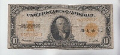 Gold Certificate $10 1922 vg-f stains