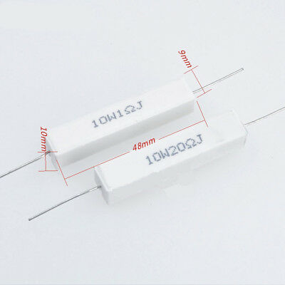 2Pcs Wirewound Ceramic Cement Resistor 0.1 - 10K Ohm 10W Watt 5%