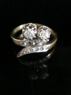 Art Deco French 18Ct Yellow Gold Platinum Old Cut & Rose Cut Diamond Ring