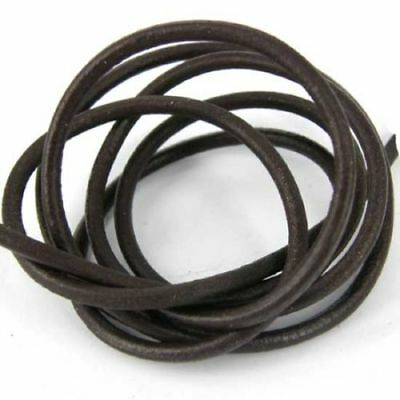5m of 4mm Round Smooth Real Leather Brown Thong-ing. Genuine Leather L12