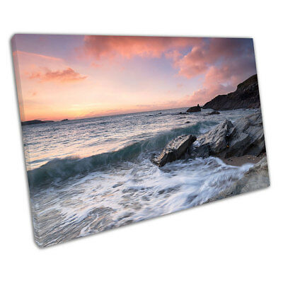Dramatic Ocean sunset Little Fistral Beach Newquay Ready to Hang Canvas X1309