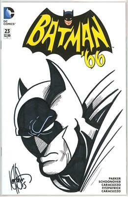 Batman '66 #23 Blank Df Dynamic Forces Signed Haeser Sketch Remarked Coa Dc