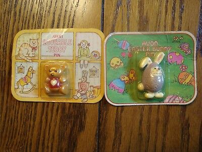 Lot of 2 Vintage Avon Pins - Lovable Teddy & Easter Bunny Pin - New 1981-1982