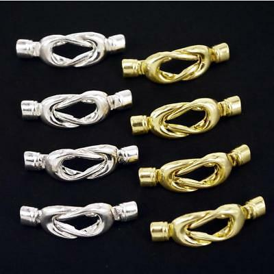 Magnetic Clasp, Thread End Tip Caps Knot Set Silver or Gold 4 Sets K4