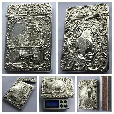 A Stunning Embossed 'river Nile' Pictorial Silver Card Case Hm. Birmingham 1903