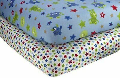 Little Bedding 2 Count Crib Sheet Set, Monster Babies