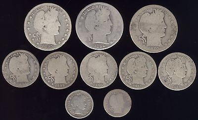 10 Genuine Silver Scarcer Barber Coins
