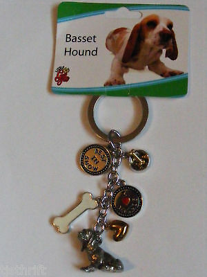 "Metal 6-Charms Basset Hound Dog Key Chain Ring 4"" New"