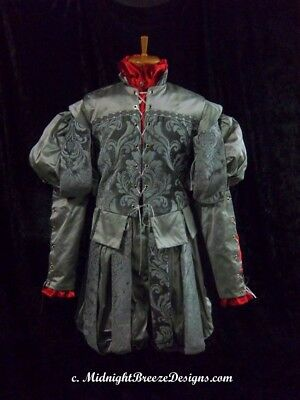 READY TO WEAR Mens Silk Renaissance Costume Suit - 3 Pieces - Size Small