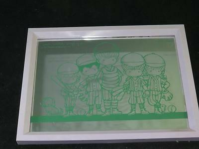 FRAMED PICTURE MIRROR Joan Walsh Anglund Baseball Children 1971