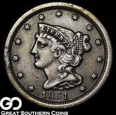 1851 Half Cent, Braided Hair, Early Copper Coin