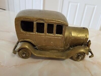 Vintage Brass Old Antique Car Rolling Wheels