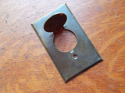 Antique Vintage Brass Outlet Plate with Swinging Cover c1920