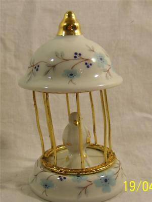 Limoges France Miniature Bird In Birdcage