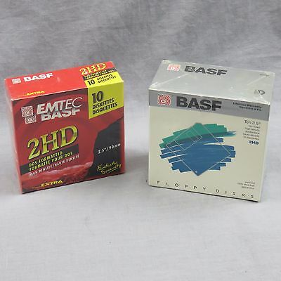 "Lot Of Two NEW BASF Floppy Disks 3.5"" 2HD High Density Double Face 10 Diskettes"