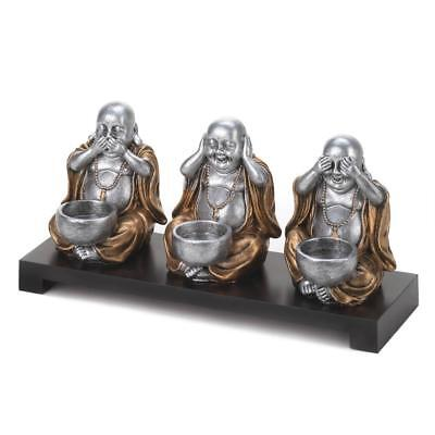 BUDDHA Speak Hear See No Evil Candle Holder Religious Lucky Fat New 10016193